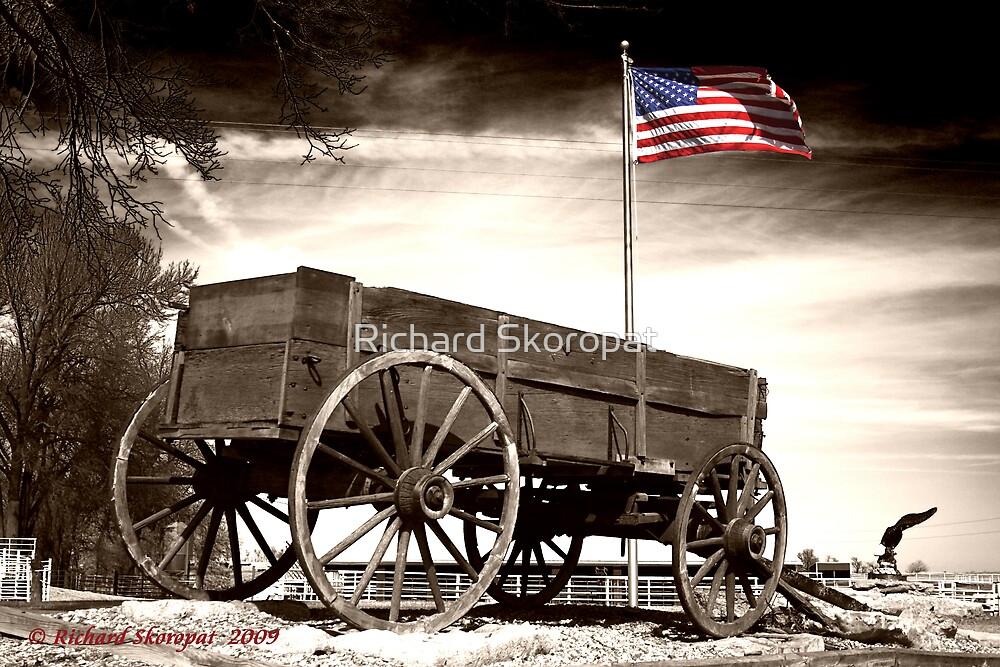 Wagon and Flag by Richard Skoropat