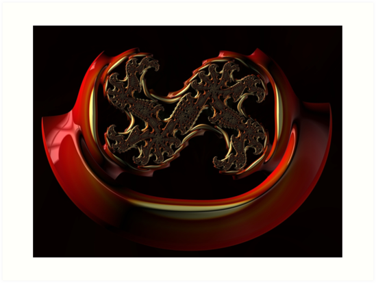 SEXY, red metal, 3D illusions, FRACTAL art by ackelly4