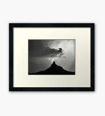Lightning Striking Pinnacle Peak Framed Print