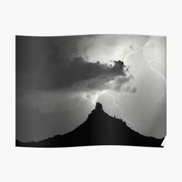 Lightning Striking Pinnacle Peak Poster