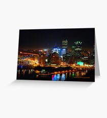 Pittsburgh Pennsylvania by night Greeting Card