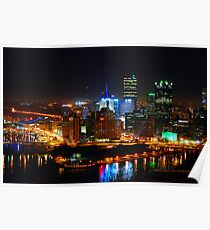 Pittsburgh Pennsylvania by night Poster