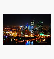 Pittsburgh Pennsylvania by night Photographic Print