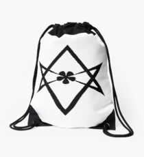 Aleister Crowley - Magick Symbol - Golden Dawn - Occult - Thelema (Black on White) Drawstring Bag