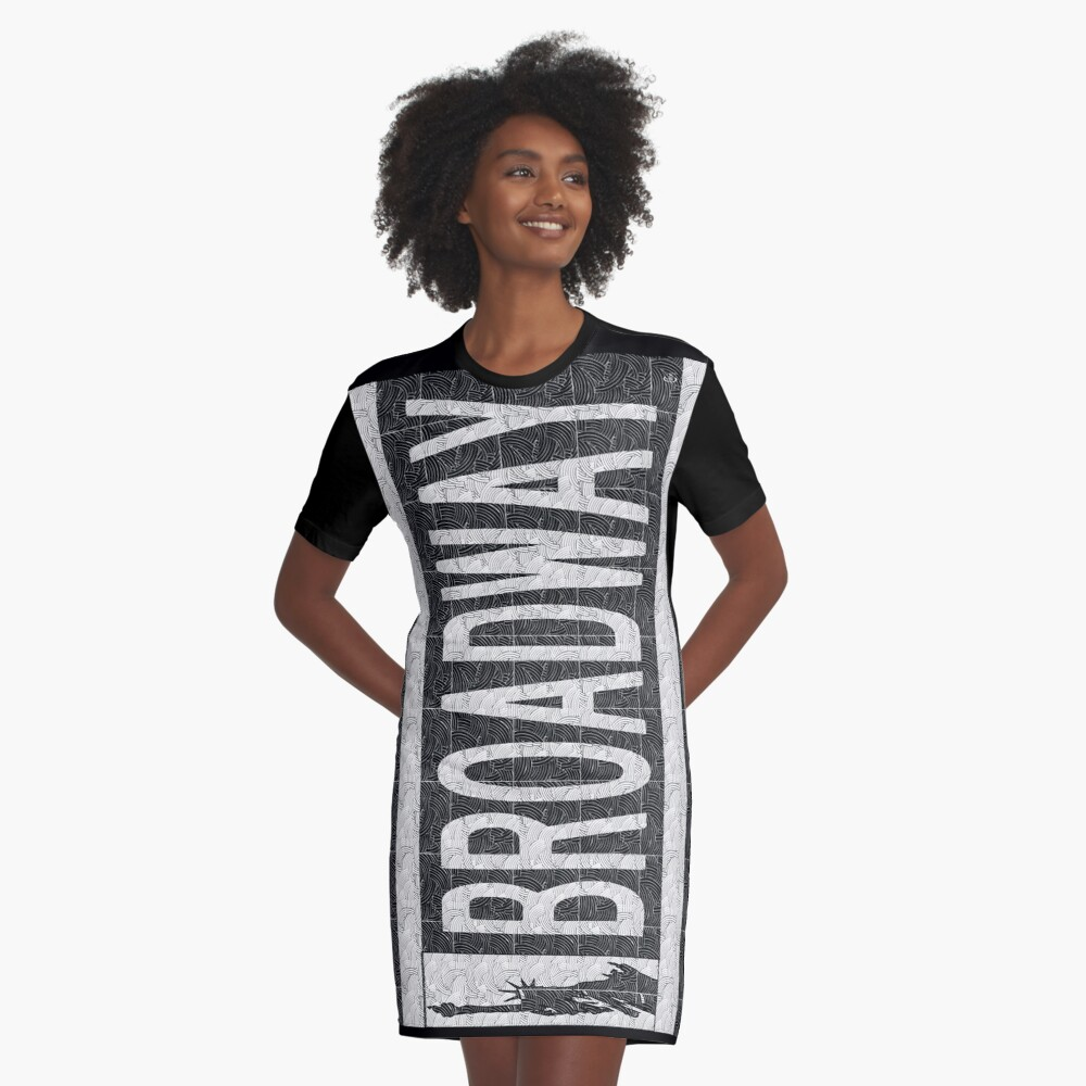 BROADWAY DECO SWING NYC Street Sign  Graphic T-Shirt Dress Front
