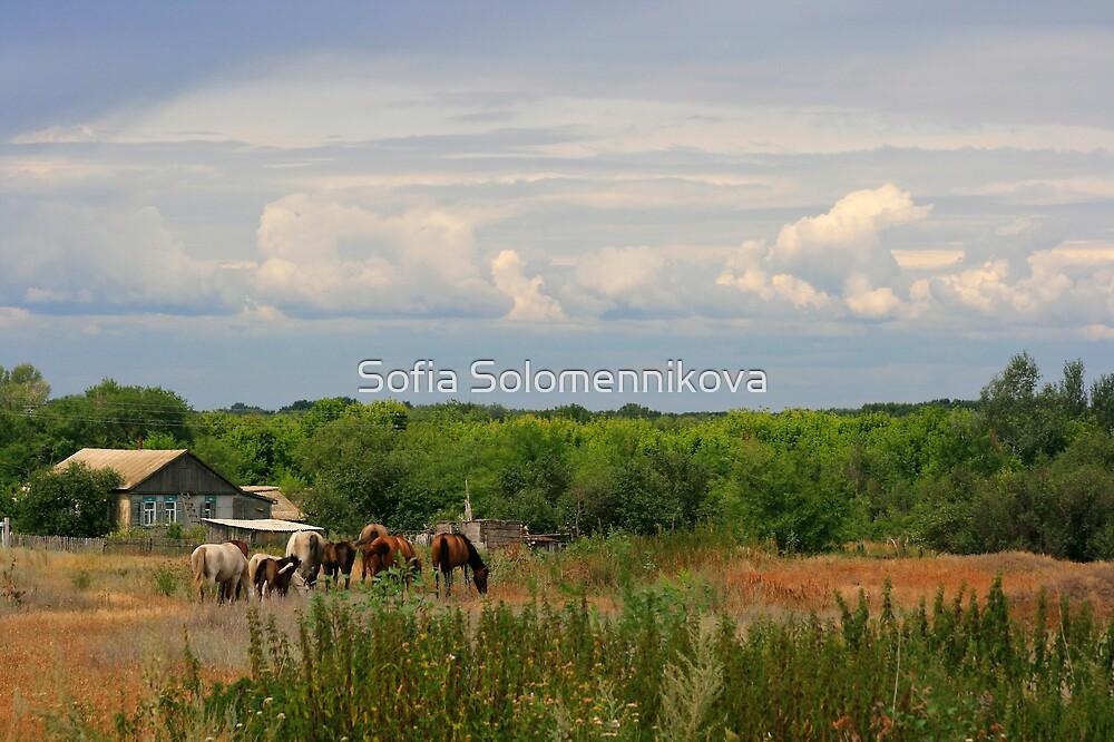 A Village scene by Sofia Solomennikova
