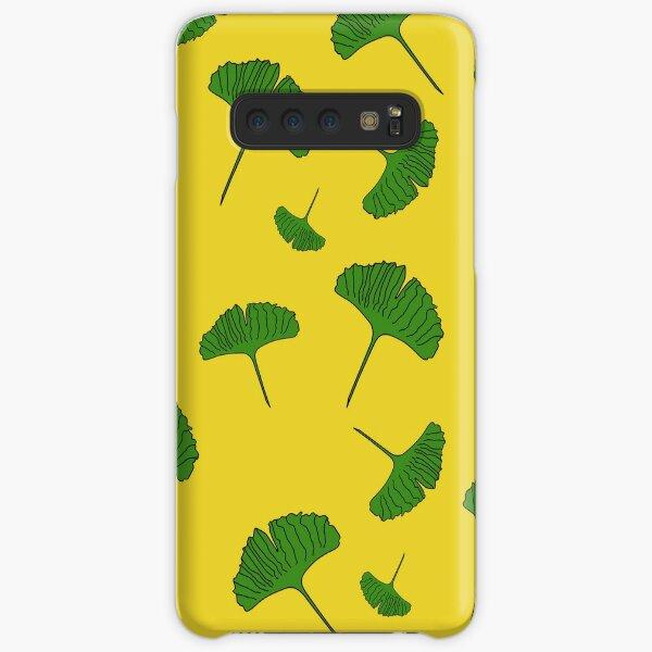Green, Ginkgo pattern, ginkgo biloba, australian leaf, leaves, nature, gingko, new zealand leaf, yellow background Samsung Galaxy Snap Case