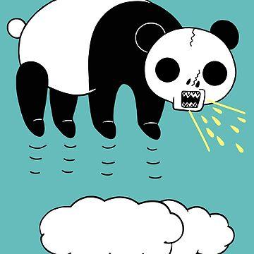 Skull Panda is floating in the sky (saying something) by RYURAKUDO