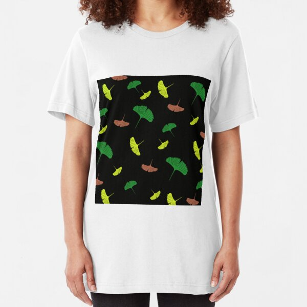 Green, yellow, brown, Ginkgo pattern, ginkgo biloba, australian leaf, leaves, nature, gingko, new zealand leaf, black background Slim Fit T-Shirt