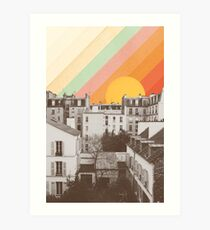 Rainbow Sky Above Paris Art Print