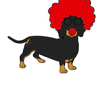 Dachshund Clown Funny Weiner Dog Lover Gift by BlueBerry-Pengu