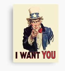 UNCLE SAM, Americana, America, I Want You! Uncle Sam Wants You. Recruitment Poster, USA, Canvas Print