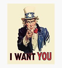 UNCLE SAM, Americana, America, I Want You! Uncle Sam Wants You. Recruitment Poster, USA, Photographic Print