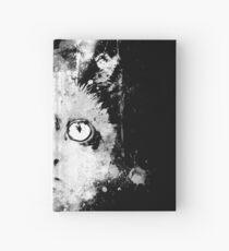 gxp cute cat blue eyes splatter watercolor black white Hardcover Journal