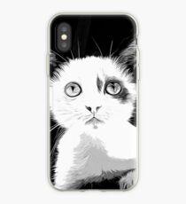 gxp cute cat blue eyes vector art black white iPhone Case