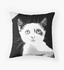 gxp cute cat blue eyes vector art black white Throw Pillow