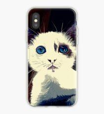 gxp cute cat blue eyes vector art foggy night iPhone Case