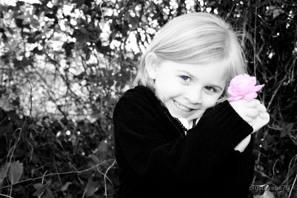 Silly little girl with a pretty pink flower by crystalrene78