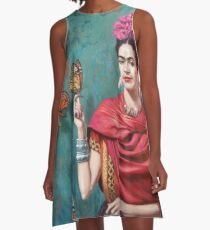 Frida Kahlo and Butterfly Art A-Line Dress