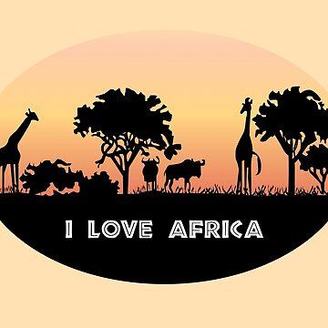 I love Africa - giraffes in African landscape by Juttas-Shirts