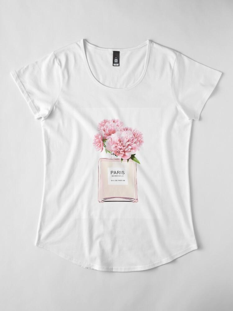 Alternate view of Perfume bottle, Flowers print, Scandinavian, Peony, Fashion print, Scandinavian art, Modern art, Wall art, Print, Minimalistic, Modern Premium Scoop T-Shirt