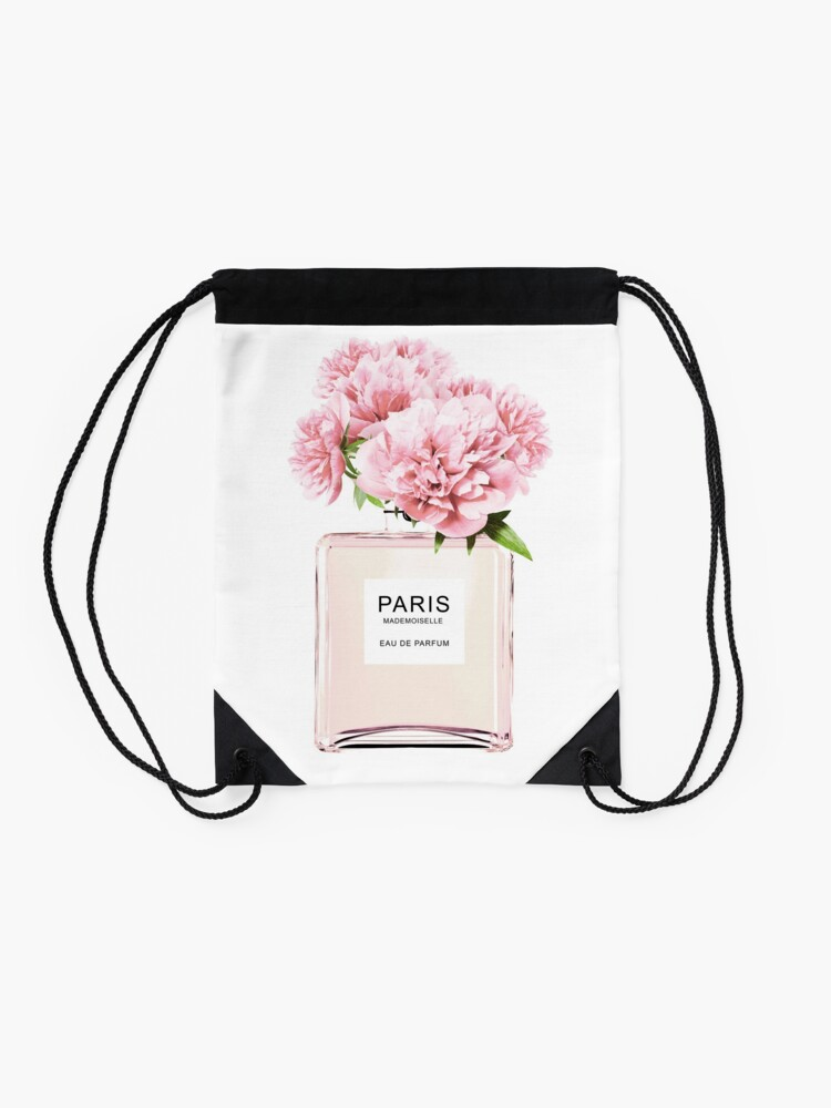 Alternate view of Perfume bottle, Flowers print, Scandinavian, Peony, Fashion print, Scandinavian art, Modern art, Wall art, Print, Minimalistic, Modern Drawstring Bag