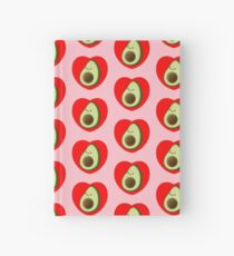Cute Avocado In Red Heart Drawing Pattern Hardcover Journal