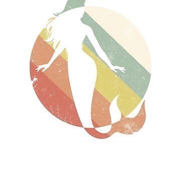 Retro style colors, pretty mermaid, cool retro design, mermaid t-shirt, mermaid, pillow, cool gift by byzmo