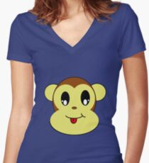 Monkey Face Women's Fitted V-Neck T-Shirt
