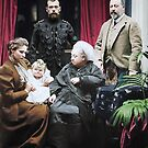 Queen Victoria with Tsar Nicholas II of Russia. Seated on the left is Tsarina Alexandra holding her baby daughter Grand Duchess Olga - Balmoral Castle, 1896. by Marina Amaral