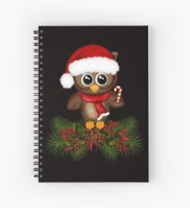 Cute Christmas Owl On Pine Branch Spiral Notebook