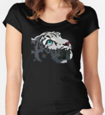 Snow Leopard gazing into the light Women's Fitted Scoop T-Shirt
