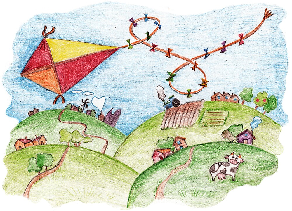 Funny kite and countryside   by Lalayf