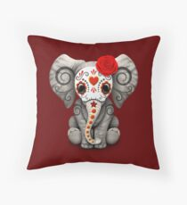 Red Day of the Dead Sugar Skull Baby Elephant Throw Pillow