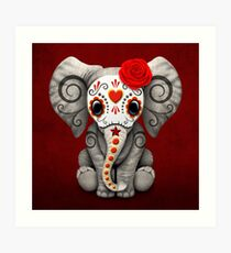 Red Day of the Dead Sugar Skull Baby Elephant Art Print