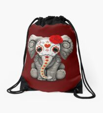 Red Day of the Dead Sugar Skull Baby Elephant Drawstring Bag