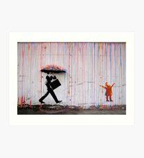Banksy Regenschirm Rainbow Happy Girl Kunstdruck