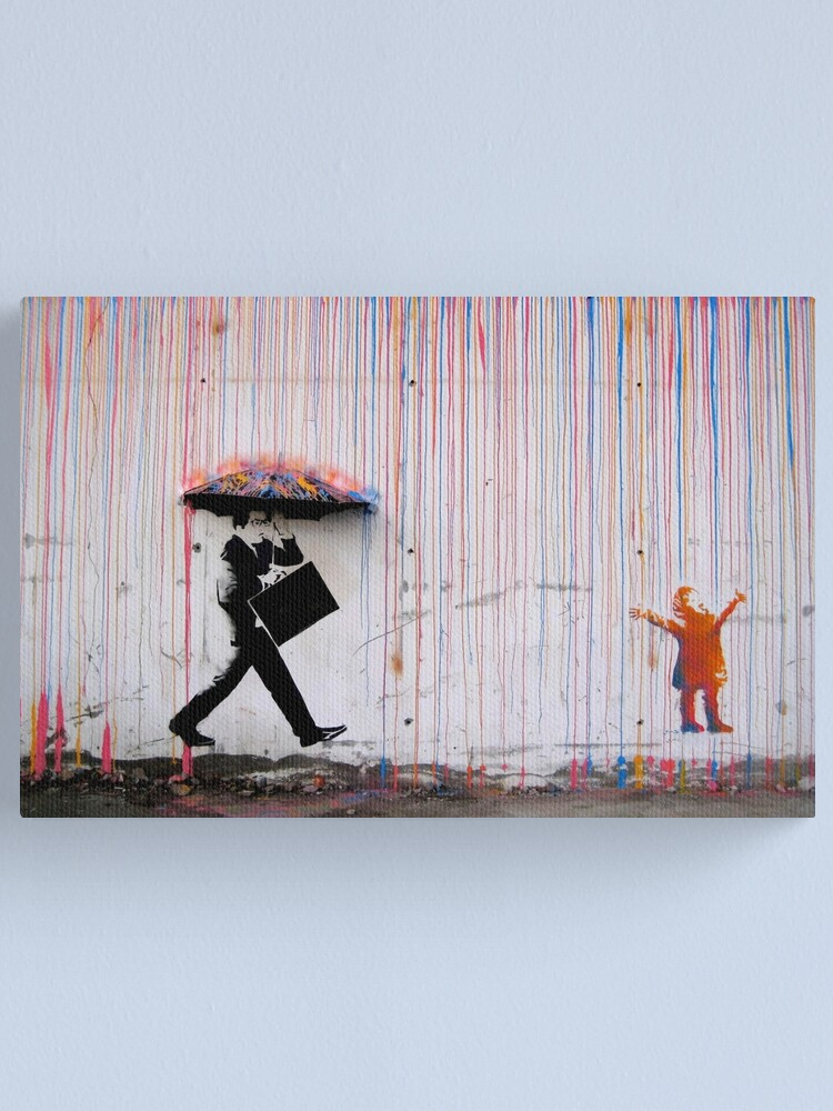 Alternate view of Banksy Umbrella Rainbow Happy Girl Canvas Print