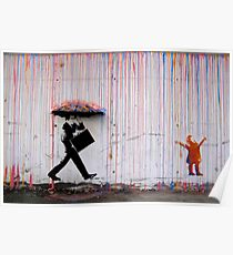 Banksy Umbrella Rainbow Happy Girl Poster