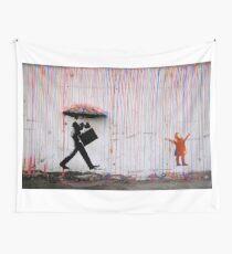 Banksy Umbrella Rainbow Happy Girl Wall Tapestry