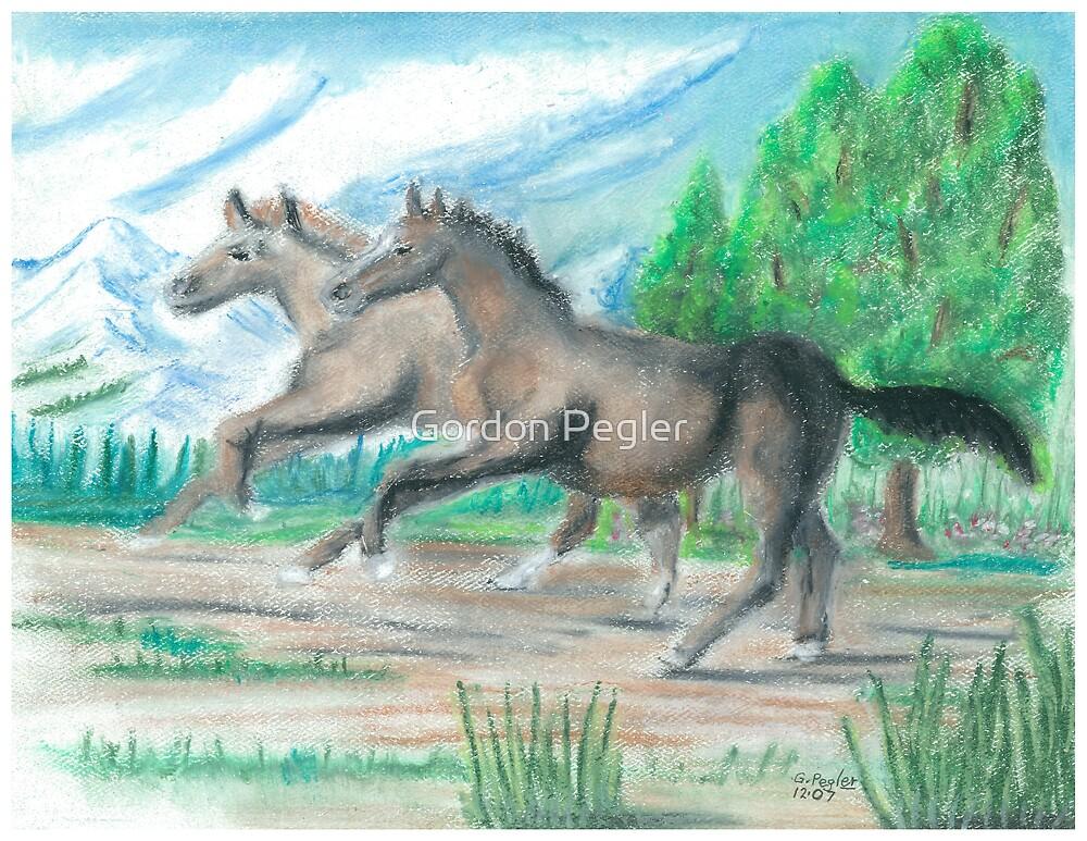 Horses  -oilpastels by Gordon Pegler