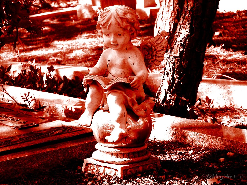 Red Cherub Reading by Ashley Huston