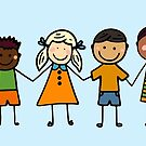 Children from All Over the World Holding Hands in a Line by Pamela Maxwell