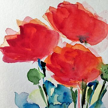 Watercolor poppies by Britta75