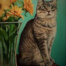 Cat and Sunflowers by Pam Humbargar