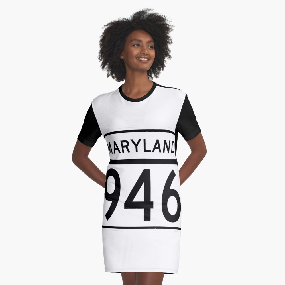 Maryland Route MD 946 | United States Highway Shield Sign Sticker Graphic T-Shirt Dress Front