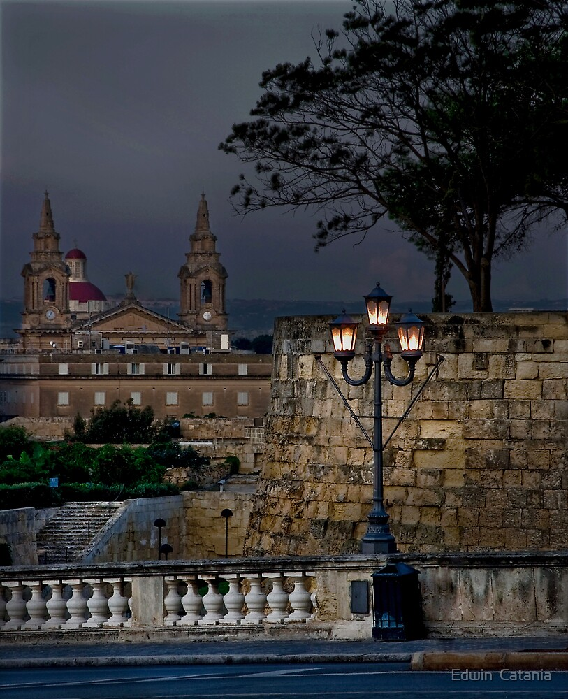 Dusk in Floriana Malta  by Edwin  Catania