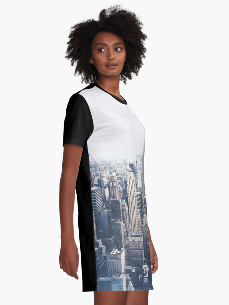 Alternate view of Foggy Day in New York City Graphic T-Shirt Dress