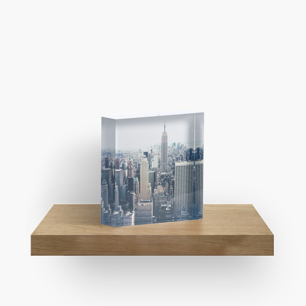 Foggy Day in New York City Acrylic Block
