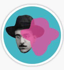 Fernando Pessoa portrait - blue pink pop Sticker